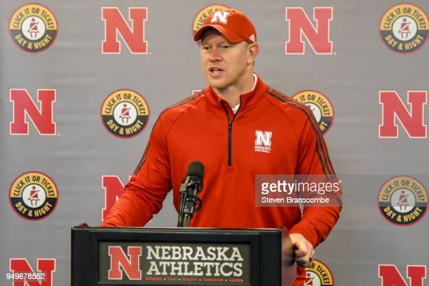 Head Coach Scott Frost of the Nebraska Cornhuskers answers questions after the Spring game at Memorial Stadium on April 21 2018 in Lincoln Nebraska