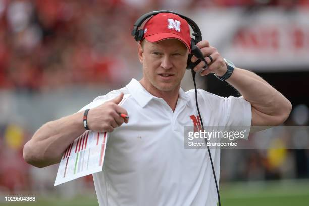 Head coach Scott Frost of the Nebraska Cornhuskers approaches the sidelines in the second half against the Colorado Buffaloes at Memorial Stadium on...