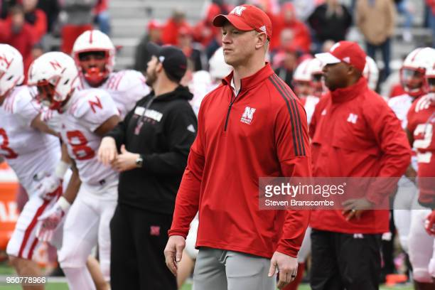 Head Coach Scott Frost of the Nebraska Cornhuskers before the Spring game at Memorial Stadium on April 21 2018 in Lincoln Nebraska