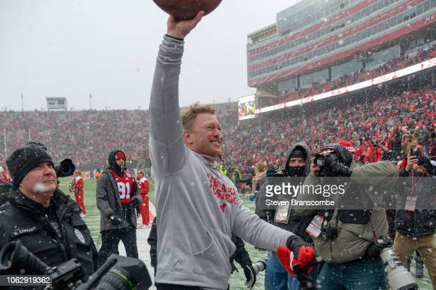 Head coach Scott Frost of the Nebraska Cornhuskers celebrates the win against the Michigan State Spartans at Memorial Stadium on November 17 2018 in...