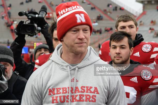 Head coach Scott Frost of the Nebraska Cornhuskers during pregame activities before the game against the Michigan State Spartans at Memorial Stadium...