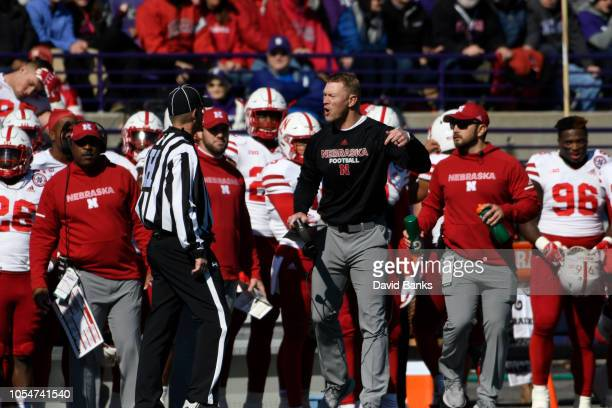 Head coach Scott Frost of the Nebraska Cornhuskers during the first half on October 13 2018 at Ryan Field in Evanston Illinois