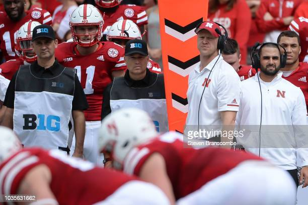 Head coach Scott Frost of the Nebraska Cornhuskers looks over the field during the game against the Colorado Buffaloes at Memorial Stadium on...