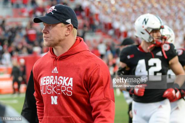 Head coach Scott Frost of the Nebraska Cornhuskers walks off the field after the loss against the Indiana Hoosiers at Memorial Stadium on October 26...