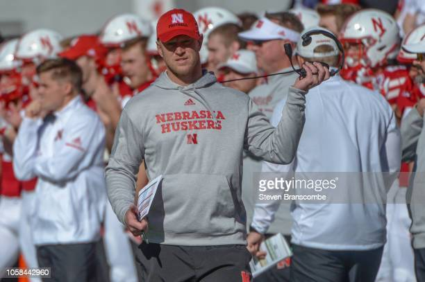 Head coach Scott Frost of the Nebraska Cornhuskers watches action in the game against the Minnesota Golden Gophers at Memorial Stadium on October 20...