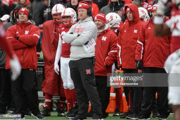 Head coach Scott Frost of the Nebraska Cornhuskers watches action against the Michigan State Spartans at Memorial Stadium on November 17 2018 in...