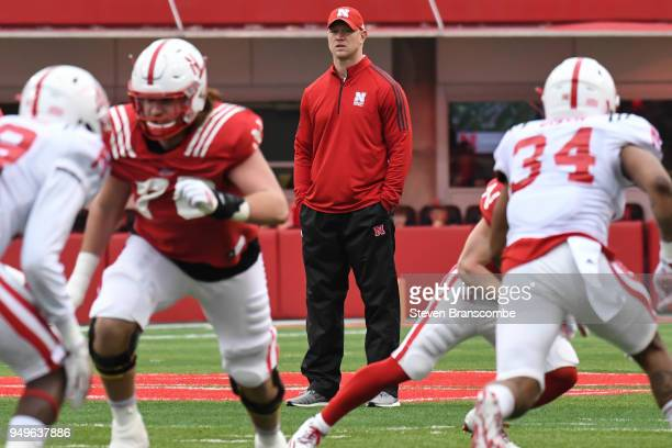 Head Coach Scott Frost of the Nebraska Cornhuskers watches action from the field during the Spring game at Memorial Stadium on April 21 2018 in...