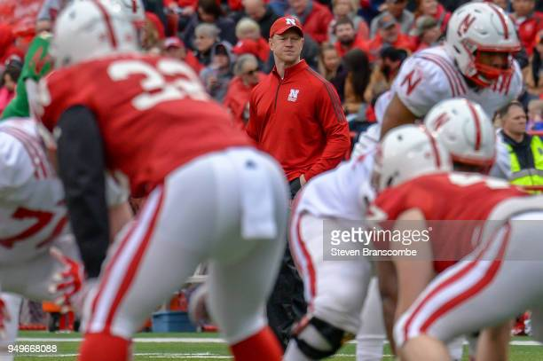 Head Coach Scott Frost of the Nebraska Cornhuskers watches action during the Spring game at Memorial Stadium on April 21 2018 in Lincoln Nebraska