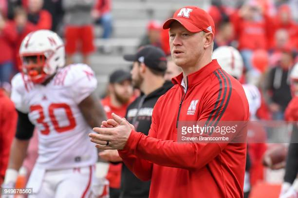 Head Coach Scott Frost of the Nebraska Cornhuskers watches pregame warmups before the Spring game at Memorial Stadium on April 21 2018 in Lincoln...