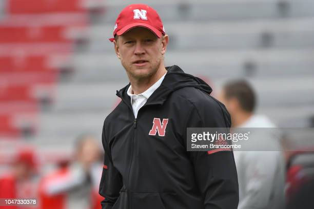 Head coach Scott Frost of the Nebraska Cornhuskers watches warm ups before the game against the Purdue Boilermakers at Memorial Stadium on September...