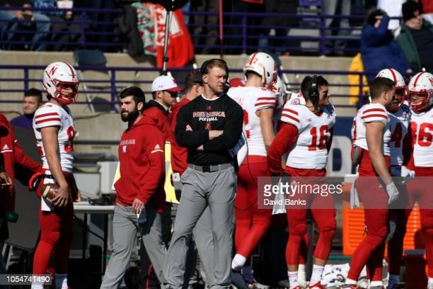 Head coach Scott Frost of the Nebraska Cornhuskersduring the first half on October 13 2018 at Ryan Field in Evanston Illinois