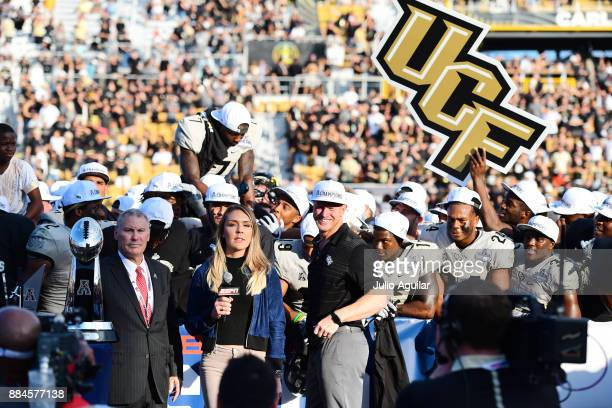Head coach Scott Frost of the UCF Knights celebrates after winning the ACC Championship 6255 against the Memphis Tigers at Spectrum Stadium on...