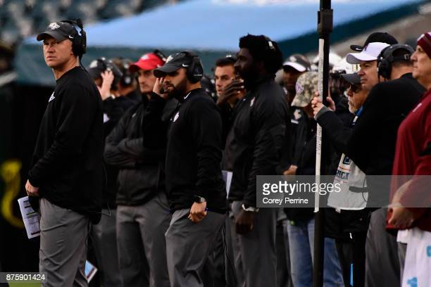 Head coach Scott Frost of the UCF Knights coaches during the third quarter at Lincoln Financial Field on November 18 2017 in Philadelphia...