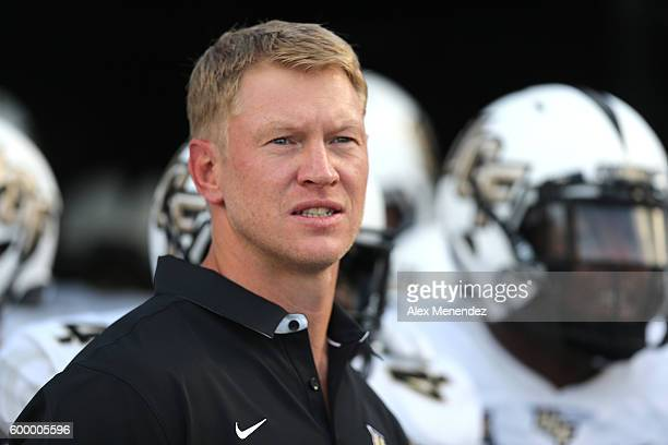 Head coach Scott Frost of the UCF Knights is seen during a NCAA football game between the South Carolina State Bulldogs and the UCF Knights at Bright...