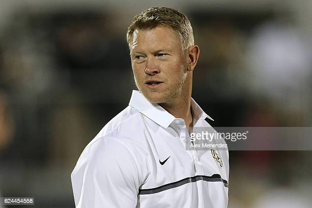 Head coach Scott Frost of the UCF Knights is seen during a NCAA football game at Bright House Networks Stadium on November 19 2016 in Orlando Florida