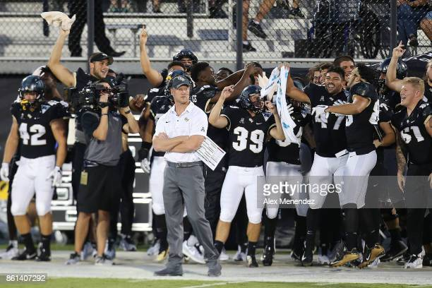Head coach Scott Frost of the UCF Knights is seen on the sidelines during a NCAA football game between the East Carolina Pirates and the UCF Knights...