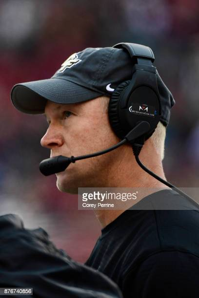head coach Scott Frost of the UCF Knights looks on against the Temple Owls during the second quarter at Lincoln Financial Field on November 18 2017...