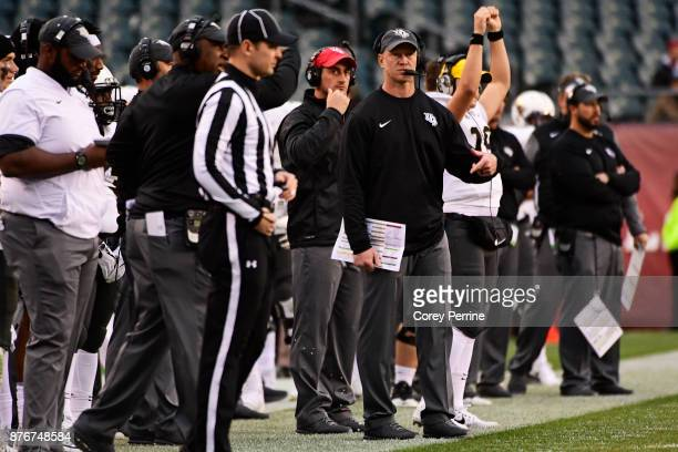 Head coach Scott Frost of the UCF Knights looks on against the Temple Owls during the fourth quarter at Lincoln Financial Field on November 18 2017...