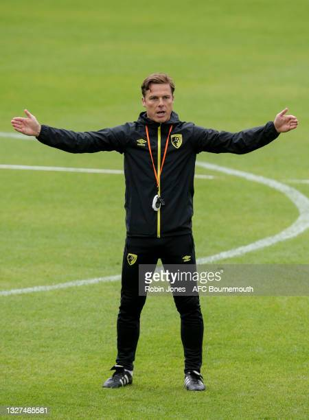 Head Coach Scott Parker of Bournemouth during a pre-season training session at Vitality Stadium on July 07, 2021 in Bournemouth, England.