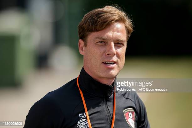 Head Coach Scott Parker of Bournemouth during a pre-season training session at Vitality Stadium on July 22, 2021 in Bournemouth, England.