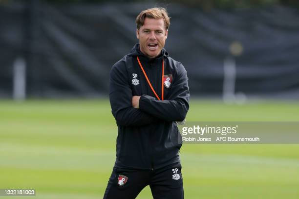 Head Coach Scott Parker of Bournemouth during a pre-season training session at Vitality stadium on August 03, 2021 in Bournemouth, England.
