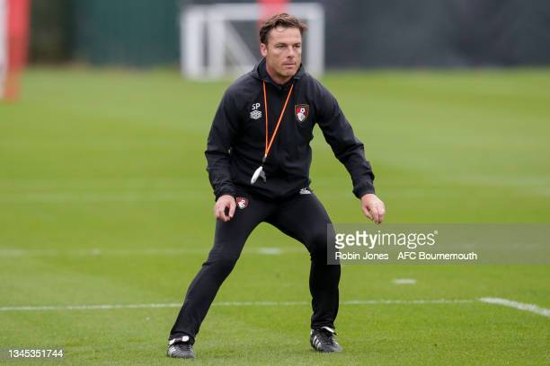 Head Coach Scott Parker of Bournemouth during a training session at the Vitality Stadium on October 07, 2021 in Bournemouth, England.