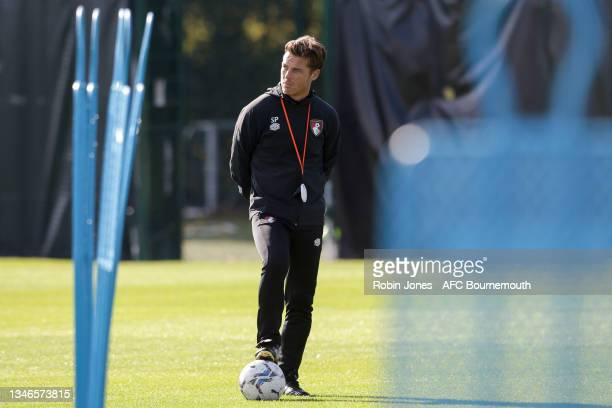 Head Coach Scott Parker of Bournemouth during a training session at the Vitality Stadium on October 14, 2021 in Bournemouth, England.