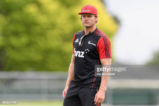 Head Coach Scott Robertson looks on during a Crusaders Super Rugby training session at Rugby Park on February 19 2018 in Christchurch New Zealand