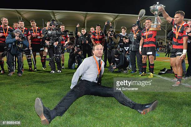 Head Coach Scott Robertson of Canterbury makes a break dance following the Mitre 10 Cup Premiership Final match between Canterbury and Tasman at AMI...