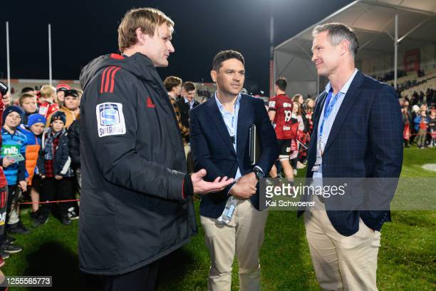 Head Coach Scott Robertson of the Crusaders and Head Coach Leon MacDonald of the Blues react following the round 5 Super Rugby Aotearoa match between...
