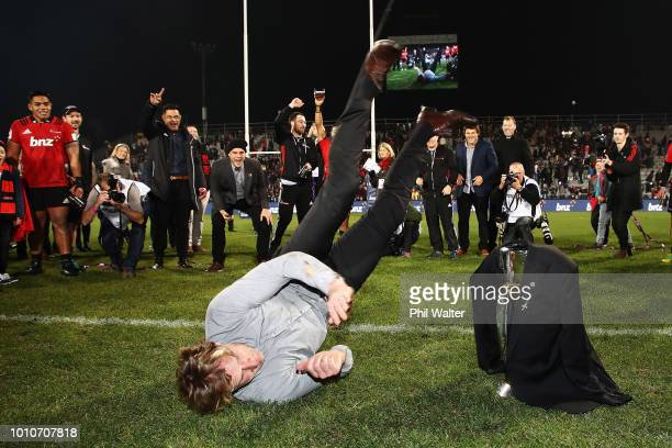 Head coach Scott Robertson of the Crusaders break dances after winning the Super Rugby Final match between the Crusaders and the Lions at AMI Stadium...