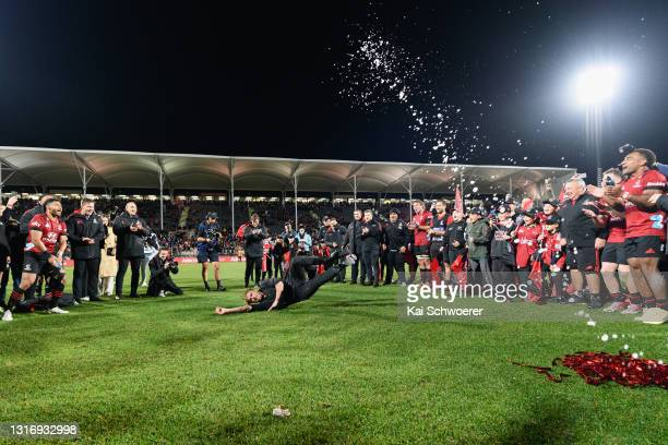 Head Coach Scott Robertson of the Crusaders breakdances after the win in the Super Rugby Aotearoa Final match between the Crusaders and the Chiefs at...