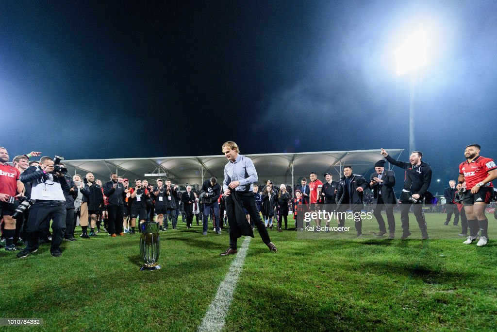 Head Coach Scott Robertson of the Crusaders makes a break dance after the win in the Super Rugby Final match between the Crusaders and the Lions at AMI Stadium on August 4, 2018 in Christchurch, New Zealand.