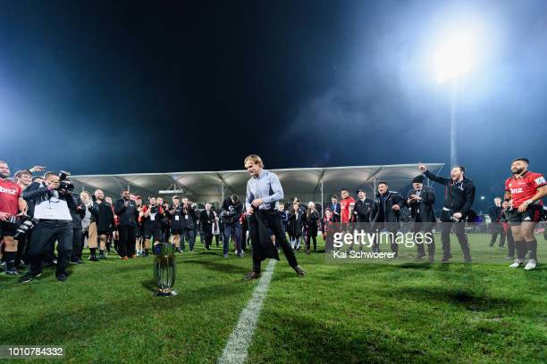 Head Coach Scott Robertson of the Crusaders makes a break dance after the win in the Super Rugby Final match between the Crusaders and the Lions at...