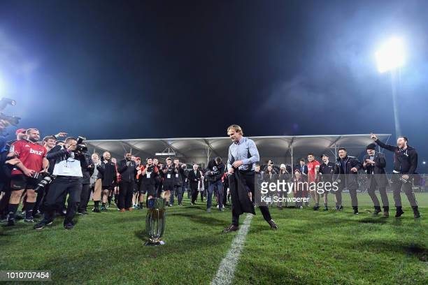 Head Coach Scott Robertson of the Crusaders makes a breakdance after the win in the Super Rugby Final match between the Crusaders and the Lions at...