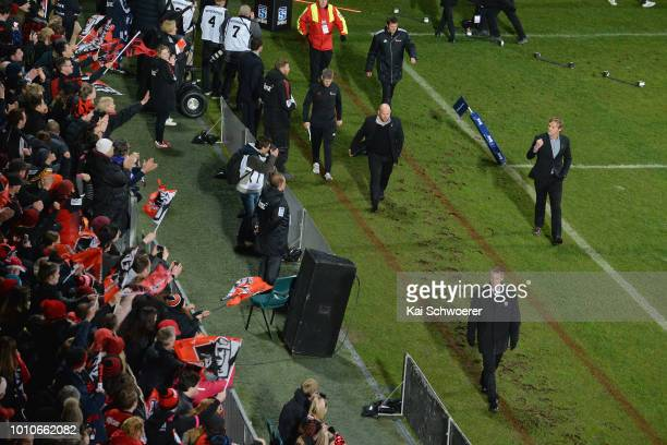 Head Coach Scott Robertson of the Crusaders reacts prior to the Super Rugby Final match between the Crusaders and the Lions at AMI Stadium on August...