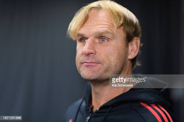 Head Coach Scott Robertson speaks to the media prior to a Crusaders Super Rugby Trans-Tasman training session at Rugby Park on June 02, 2021 in...