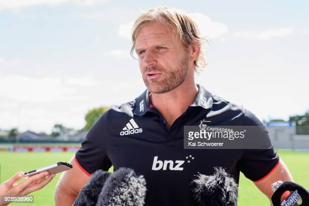 Head Coach Scott Robertson speaks to the media prior to a Crusaders Super Rugby training session at Rugby Park on March 8 2018 in Christchurch New...