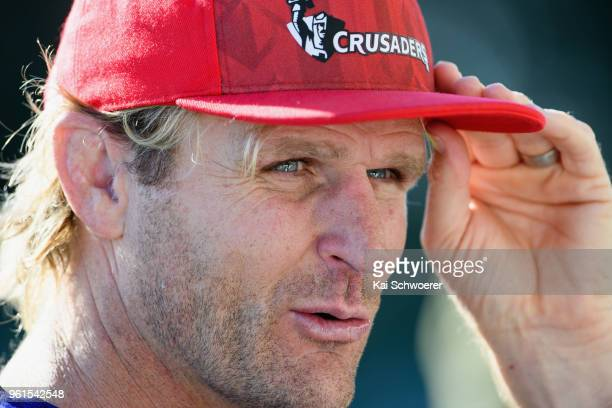 Head Coach Scott Robertson speaks to the media prior to a Crusaders Super Rugby training session at Rugby Park on May 23 2018 in Christchurch New...