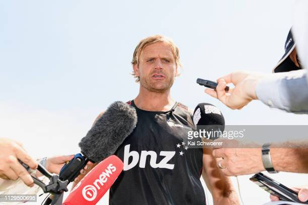 Head Coach Scott Robertson speaks to the media prior to the Crusaders Training Session at Rugby Park on February 14 2019 in Christchurch New Zealand