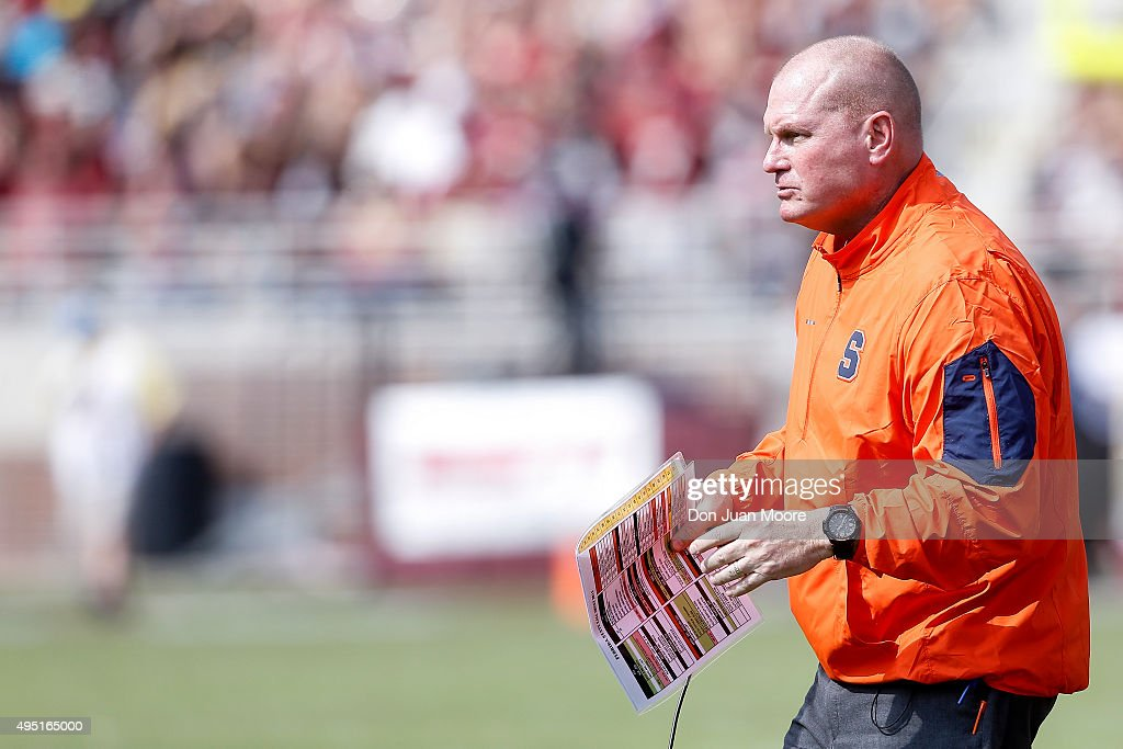 Head Coach Scott Shafer of the Syracuse Orange during the game against the Florida State Seminoles at Doak Campbell Stadium on Bobby Bowden Field on October 31, 2015 in Tallahassee, Florida. Florida State defeated Syracuse 45 to 21.