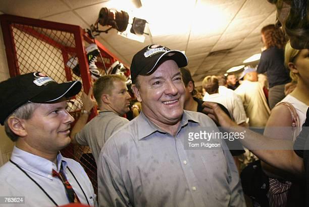 Head Coach Scotty Bowman of the Detroit Red Wings celebrates in the lockeroom after defeating the Carolina Hurricanes 31 and winning the Stanley Cup...