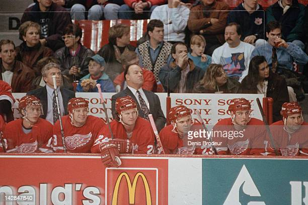 6aef6b138a6 Head Coach Scotty Bowman of the Detroit Red Wings follows the action during  a game at