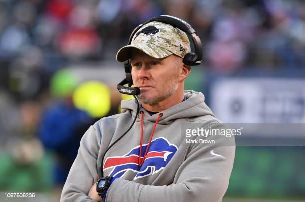 Head coach Sean McDermott of the Buffalo Bills coaching against the New York Jets at MetLife Stadium on November 11 2018 in East Rutherford New Jersey