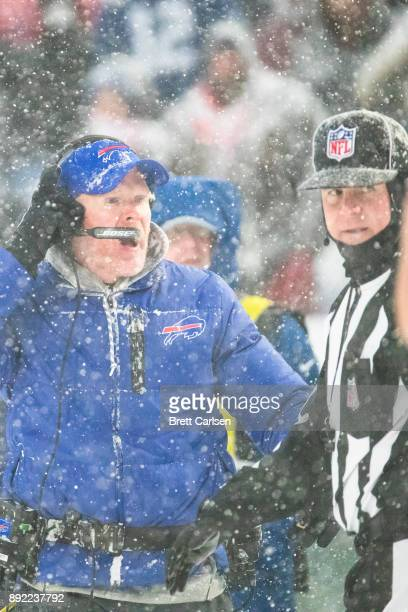 Head coach Sean McDermott of the Buffalo Bills disputes a two point conversion attempt during the fourth quarter by Indianapolis Colts that was then...