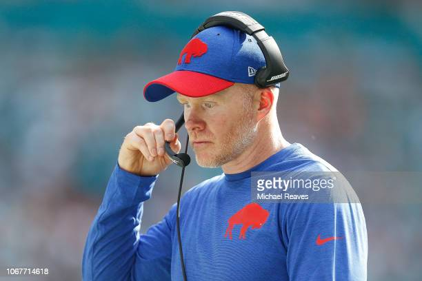 Head coach Sean McDermott of the Buffalo Bills looks on against the Miami Dolphins during the first half at Hard Rock Stadium on December 2 2018 in...