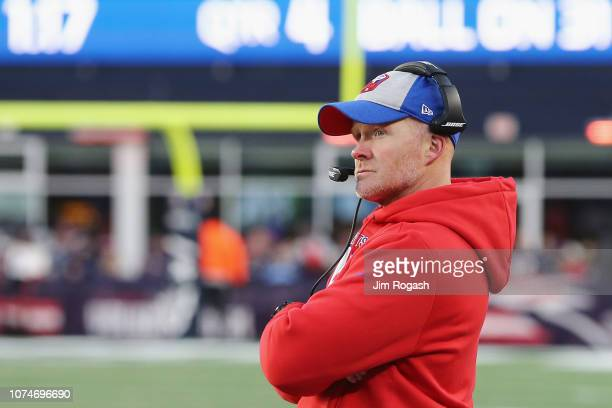 Head coach Sean McDermott of the Buffalo Bills looks on during the second half against the New England Patriots at Gillette Stadium on December 23...