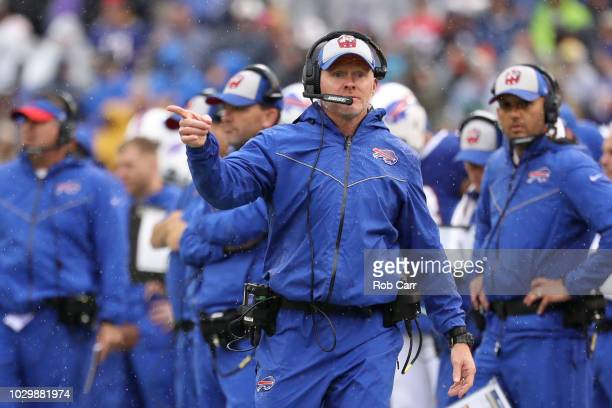 Head Coach Sean McDermott of the Buffalo Bills looks on from the sidelines during the first quarter against the Baltimore Ravens at MT Bank Stadium...