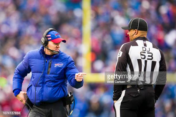 Head coach Sean McDermott of the Buffalo Bills speaks to back judge Jim Quirk during the second half against the Detroit Lions at New Era Field on...