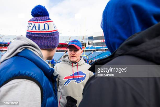 Head coach Sean McDermott of the Buffalo Bills speaks with fans before the game against the New York Jets at New Era Field on December 9 2018 in...